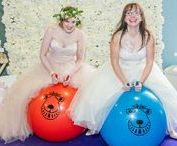 Retro Space Hoppers / Guaranteed fun for any event with these retro style hoppers. Why not set up a race for your guests and use our tandem space hopper for the Bride and Groom? For more information about hiring props from us, please visit www.loveartdesigns.co.uk