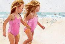 Art: Charming Children: Beach Babies / Paintings & Photos / by Vonnie Davis