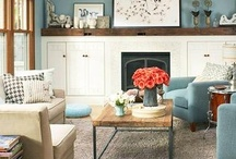 ReCreate the Room by Sheelys: Suburban Update / We love this inviting living room with the dusky blues, pops of coral, white accents, and mixing of patterns. Sheely's is going to ReCreate the room with #sheelysfurniture products! Inspiratio from #midwestliving