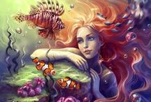 Art: Fant-A-Sea: Maidens of the Sea / Goddesses, Mermaids, Water Nymphs / by Vonnie Davis