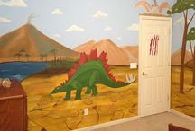 Dinosaur Mural/Boys Bedroom designed by Kid Murals by Dana Railey / This room was designed for a young boy who loved Dinosaurs. He had the whole room planned out and it was my job to make it a reality! (I just had to research dinosaurs first :) To view the whole room on video go to http://youtu.be/0Flq8dR8544 Also, visit http://www.facebook.com/kidmuralsbydanarailey or www.scottsdalemurals.com