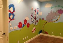 Seussical Toy Room Mural Designed by Kid Murals by Dana Railey / Any kid would love this Dr. Seuss Play Room! It's the size of a one car garage and his playful characters fill the room! Painted and designed by www.scottsdalemurals.com or visit us on FB at http:/www.facebook.com/kidmuralsbydanarailey See the whole room on video at http://youtu.be/ngTKDJ-6Flw