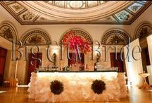 Designer Wedding Bar. / Designer Details | Big City Bride plans and designs beyond the 'typical' wedding. Designing a custom bar with intricate floral arrangements is just one of the many details we LOVE to add.