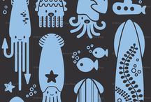 Illustratie / Illustrations, octopus, squid, kraken