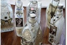 """Love Vintage Bottles / If you know me at all you'd know I love vintage bottles....I like decorating them and adding a little extra character to each. What's not to love with Vintage everything~artist Dawn-Marie. Fb page www. Facebook.com/artistictatteredfeather the """"Sophisticated Junkie"""""""
