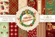 Christmas New Year Digital Paper Packs / Christmas New Year Digital Paper Packs for a truly warm festive celebration!. All Seamless Patterns. Use it in any project and have fun! Perfect for crafts, scrapbooking, fabric, decor, stationery, gits an more!