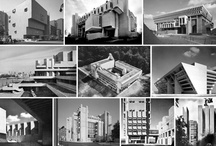 """Bruralist Architecture, Art and Design / Brutalist from the French béton brut, or """"raw concrete"""", a phrase used by Le Corbusier is an architectural/design style  which flourished from the 1950s to the mid-1970s, spawned from the modernist architectural/art movement. Examples are typically very linear, fortresslike and blockish, often with a predominance of concrete/metal construction. Initially the style came about for government buildings, low-rent housing, shopping centers and colleges to create functional structures at a low cost."""