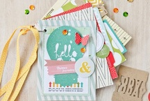 Scrapbooking / Fabric, ribbons, paper and pictures - beautifully combined!