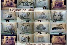 COJINES DE LINO / FLAX CUSHIONS / Cojines de lino 100% con la cara de tu perro.  Flax cushions 100% hand made with the face or your dog.
