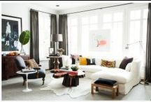 Living Rooms-Modern style / My pinboard of ideas for living room decor; planning to transition our living room more towards modern style with touches of vintage rather than vintage/feminine with a little modern. -Andrea/Rose Tree Originals~Quilts & More