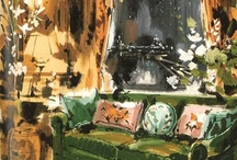 Interior Insights / Interiors as the subject for art spans a wide range of mediums and styles.  From the dramatic watercolors of one of the best illustrators, Jeremiah Goodman whose use of high contrasts and sparkling shadows to the Impressionistic interiors of Matisse.  They portray interiors locked in time.