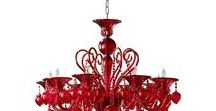 Red is my happy color! / Red color rugs, dinnerware, decor