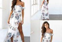 Long Summer Dress with Floral Design / Women Vintage Boho Long Maxi Evening Party Beach Dress Floral Sundress