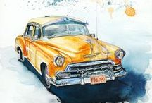 "Watercolor /Cars / Akwarele / Samochody / Series ""Cars"" Kolekcja ""Samochody"""