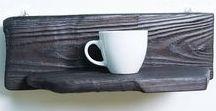 Handmade wooden kitchen shelves / Handmade kitchen shelf, wood, woodring, color, lavender, red,  Shou Sugi Ban,  Yakisugi, kitchen, decor, homedecor, homedeco, cup
