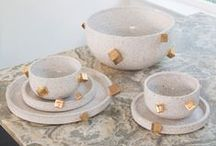 Kelly Wearstler X Ben Medansky / With the integrity of an authentic master of clay, Los Angeles–based ceramicist Ben Medansky crafts distinctive, minimalist objects with the purist of materials and design. Medansky interpreted Kelly's vision for uniquely raw and refined artisan tablewares for this collaborative collection in strikingly simple and ornamented shapes.  / by Kelly Wearstler