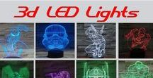 """3d LED Acrylic Night Lights / Beautiful acrylic panels that are etched to look 3d when lit with an LED lamp base. 7 color LED lamp provides beautiful colors. Great for Bar, kids room, man cave or just about anywhere. Uses 3 """"AA"""" batteries or power via USB cable provided."""