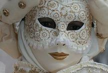 Masks / I've always been intrigued by masks of all kinds. I truly love them! Here is my collection (wish I could have them all) - from weird, scary, creepy, ugly, grungy, spooky and horrible to bedazzled, feathered, beaded, lace and glittery loveliness!