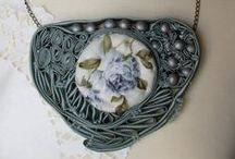 Nagyváradi Csilla necklace, fabric jewelry, statement jewelry, textile jewelry / fabric jewelry, statement jewelry, textile jewelry, bijoux, ékszer