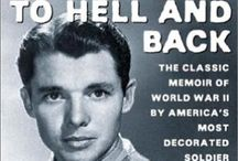 A ~ Audie Murphy : To Hell & Back WW II  Decorated Hero / Audie Murphy was the most decorated hero in WW II .. As you look at this board remember him for being the hero he was at such an early age.. A young Boy From  Texas became The Hero of so many.. Later He became an actor.. He had PTSD .. It wasn't known back then as that... Many men came back from the war living a Hell at Home.. We must never forget  ...Audie Murphy is buried at Arlington Cemetery.. His grave is the second most visited next to President JFK .. He requested at plain stone.. / by Linda Sherrin