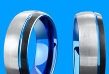 Mens Modern Rings / A collection of men's modern wedding rings. Tungsten rings with all sorts of colors. Top mens wedding rings!