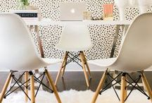 Bright and White Offices / White, breezy, cheerful offices with pops of color and gold; inspiration for a trendy at-home office