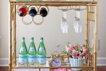 Bar Cart Styling / How to arrange a chic and well put-together bar cart including wine, liquor, glasses, flower arrangements and bar accessories