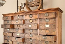 Wooden Wonders / I admit!  I have a thing for wooden drawers, boxes, cupboards, wire baskets, and so on....  OK, maybe passion is a better word... (obsession??  Shhhh - don't tell) / by Barbara Mansfield