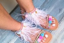 Flurry of feathers / Handcrafted sandals, Greek sandals, leather sandals, feathers sandals, boho sandals, bohemian sandals, slides sandals, flat sandals, slip on sandals, Ancient Greek sandals