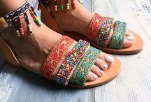 Color bombing specials | Pinky Promise / Leather sandals, made in Greece, colorful sandals, pom pom sandals, bohemian sandals, gypsy sandals, beach sandals, summer footwear, summer shoes, women shoes, friendship sandals, semiprecious stones, Indian sandals