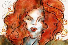 ColorSplashes Artful Ladies / A series of whimsical women, all with wonderful hair, created by Kathryn Delany