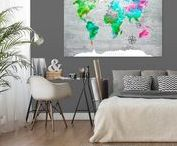 """World maps - home decor ideas for travelers / Are you looking for a gift for a traveler or are you traveler yourself? Or maybe you are searching for educational decorations for your children to help them learn about different countries and continents? If your answer is """"yes"""" - that's the right place you were looking for! Check out our bimago home decor ideas with World map motif!"""