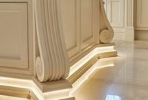 Stonehouse Luxury Kitchens / Luxury bespoke kitchens, hand painted, decorative plinth lighting, pilaster detail, islands with pilasters,