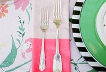 Table Top / Place settings, table decor, style ideas for what to put on top of a table: inspiration for dinner parties, birthday parties, special occasions or elaborate events!