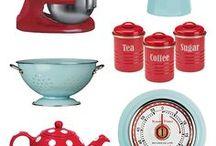 Dream Home - Kitchen / Our dream kitchen ideas in retro red & pale blue.