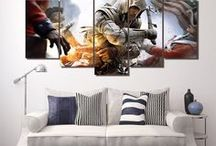 Game Wall Art / Ideas for your wall, check out some of the multi panel wall canvas. These multi panel canvas are unique and creative, you and your guests will be amazed every time you enter the room.