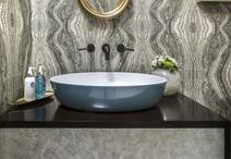 Bathroom Ideas / Luxury master bathroom, guest bathroom and powder room design, decorating and styling inspiration, tips and trends. Gorgeous interior design photography curated by Arianne Bellizaire.