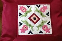 Vayots Dzor Embroidery / One family in the village of Artaboink, one in the village of Getap and the wife of a priest in Vayk do exquisite embroidery which Homeland Handicrafts sews on to beautiful cushion covers