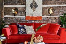 Decorating around a red sofa...