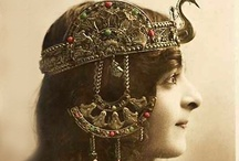 Headdress / An ornamental covering or band for the head, esp. one worn on ceremonial occasions.