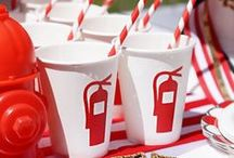 Fire Fighter Party Ideas / Firefighter party ideas including firefighter party food, decorations, drinks, centerpieces, cake, games, favors, and more!