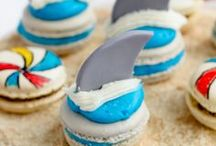 Beach and Swimming Party Ideas / All the Pool / Swimming / Beach  themed party ideas you could ever need! Pool  themed decorations, pool themed party food, pool party invitations, pool party drinks, pool party supplies, pool cupcakes, pool themed cakes, pool games / party activities, pool themed desserts / treats, pool party favors and more! All on KarasPartyIdeas.com!
