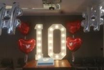 Corporate Events Ireland / Giant 5ft LED light up letters and numbers for hire. Venue decor corporate events photoshoots awards ceremonies Ireland. A selection of some of our most recent and popular event decor