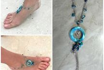 Handmade anklets - Cavigliere e sandali a piedi nudi / A collection of my handmade accessories for feet; anklets, barefoot sandals, toes rings etc.. hope you enjoy it :)