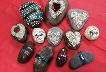 "Rocks Stones Leaves Sticks / Friends and I paint and decorate ""Happy Rocks"" to put out for folks to find at a nearby folk festival.  It's become a tradition now and we have fun doing it!  It's kind of like a ""random act of art.""   A few of these are mine but most are fantastic inspiration from the true artists!!! :) / by Katie Warner Waller"