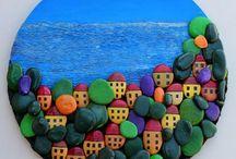 Галечное искусство 3 (море & домики)