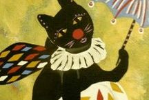 Circus Kitty Series by Jeanne Fry / The Circus Kitty series created by Jeanne Fry focuses on a whimsical black circus kitty with dragonfly wings, a lavender tutu, and striped stockings.