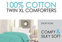 100% Cotton Twin XL Comforters / DormCo offers super comfortable XL Twin Comforters for dorm rooms in great colors that add to dorm room decor. These Twin XL College Comforters are made of 100% Cotton which is a great dorm bedding material. Cotton is a natural fabric that draws heat away from your body so that you won't be too warm at night.