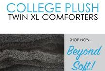 College Plush Comforters - Beyond Soft! / DormCo has plenty of dorm products that you can't find anywhere else, but our College Plush Comforters have made our dorm store famous.  These Twin XL Comforters for College offer ultimate comfort and you will always be warm on cool nights with our selection of incredibly soft Plush Twin XL College Bedding. When we say these College Comforters offer ultimate comfort, we mean sink into your college dorm bedding, top of the line in ultimate comfort.