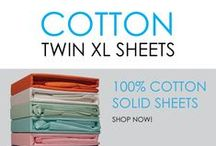 Cotton Twin XL Sheets / DormCo has a great selection of 100% cotton sheets in a variety of colors to match your Twin Extra Long dorm bedding sets. Cotton is a great fabric for your college dorm bedding. It is a natural, breathable fabric that draws heat away from your body and is also ideal if you have allergies or sensitive skin because it won't irritate or disturb your sleep.